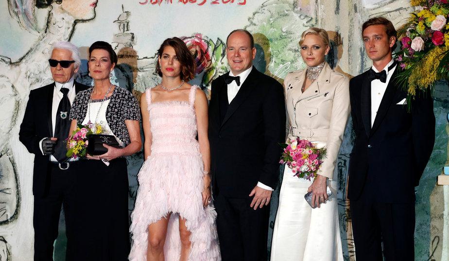 karl lagerfeld and royal family at Bal de la Rose